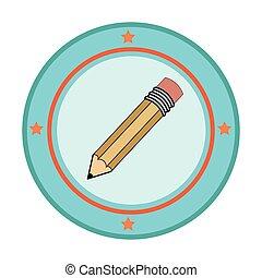 颜色铅笔, 框架, 侧面影象, 圆