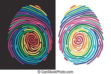 颜色, 打印, 手指