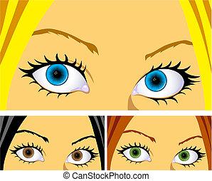 颜色, 眼睛, 同时,, 头发