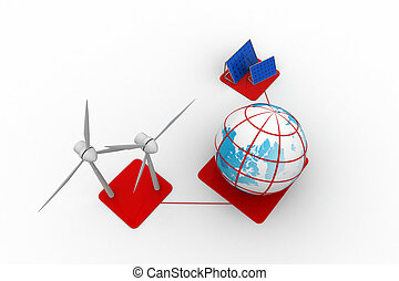 風エネルギー, パネル, タービン, 太陽