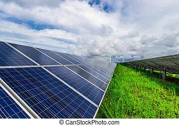 風タービン翼車, そして, 太陽, panels., 緑, エネルギー