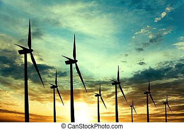 風タービン翼車, 日没, 農場