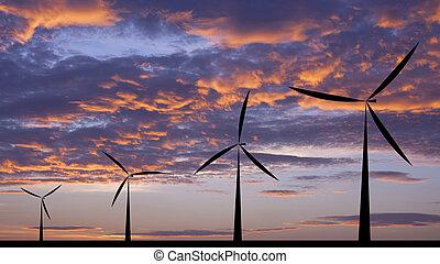 風タービン, シルエット, 日没, ∥あるいは∥, 日の出, 経済, システム, 背景