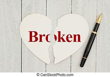 風化, 正文, 撕破, 心成形, 打破, 木頭, 背景, 卡片