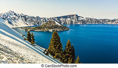 風景的圖, ......的, 魔法的島, 火山口湖, 俄勒岡州