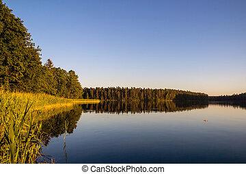 風景, ∥で∥, 湖, 中に, summer., 青い空