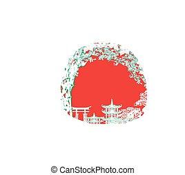 風景, アジア人, カード