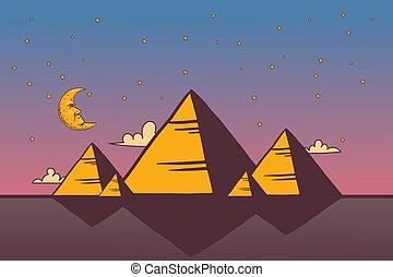 風景, ギザ, illustration., ベクトル, ピラミッド, シルエット, 月, ピラミッド, 観光, 夜, 単純である, エジプト人, 星, エジプト, 旅行, 漫画, style., 偉人