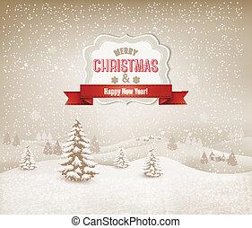 風景, クリスマス, 背景, 冬
