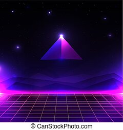 風景, サイエンスフィクション, 形。, cyber, 白熱, ピラミッド, 格子, レトロ, 背景, 80s, 世界, style., 未来派