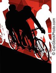 風景, サイクリスト, ライダー, スポーツ, 男性, 自転車, 背景, 活動的, イラスト, 抽象的