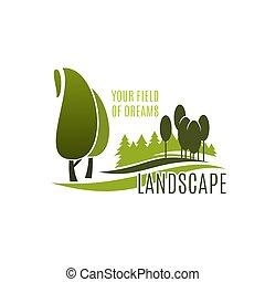 風景, シンボル, デザイン, 木, 植物, 緑