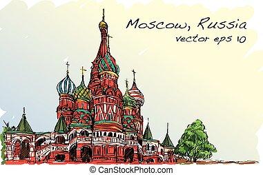風景, スケッチ, モスクワ, ロシア, 赤の広場, 無料で, 手, 図画, イラスト, ベクトル