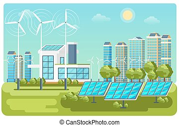 風景, ベクトル, エネルギー, 都市, 緑