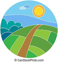 風景, ベクトル, 日当たりが良い, 牧草地, イラスト
