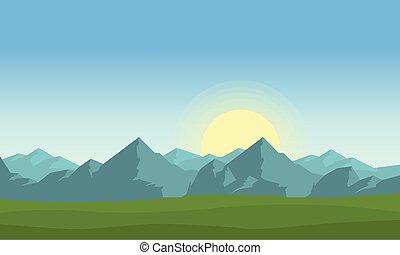 風景, ベクトル, 朝, 山