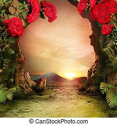 風景, ロマンチック, 庭