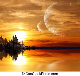風景, 中に, ファンタジー, 惑星