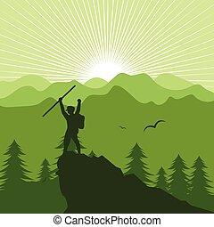 風景, 人々, 山, イラスト, ハイキング, ベクトル