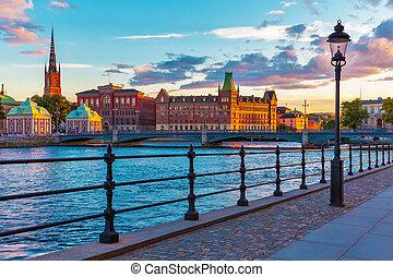 風景, 傍晚, 在, 斯德哥爾摩, 瑞典