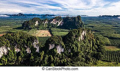 風景, 光景, 山, 航空写真, タイ, krabi