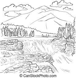 風景, -, 公園, 滝, 線, カナダ