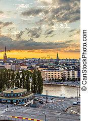 風景, 夏天, 夜晚, 全景, ......的, 斯德哥爾摩, 瑞典
