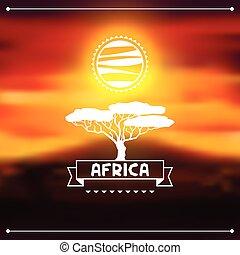 風景, 夕方, アフリカ, 背景, 民族, サバンナ