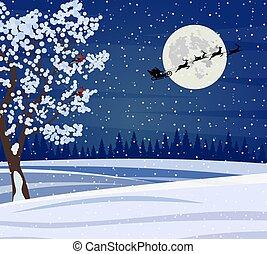 風景, 夜, クリスマス