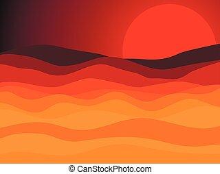 風景, 太陽, イラスト, ベクトル, 日没, desert., 砂漠, 赤