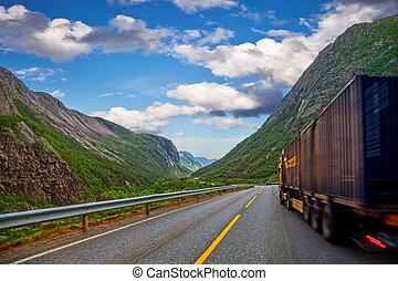 風景, 山, 卡車