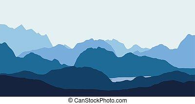 風景, 山, 湖, 丘, 青, シルエット