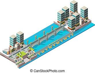 風景, 建物, poly, 都市, 等大, 都市, 陸橋, 橋, river., ベクトル, 大きい, 低い