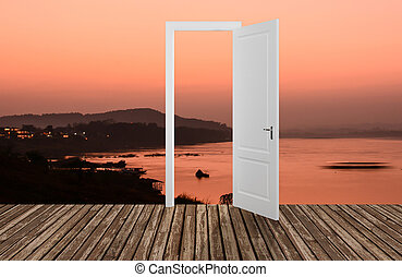 風景, 後面, the, 打開門