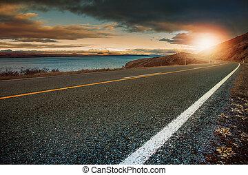 風景, 提防, ......的, 瀝青, 高速公路, 在, aoraki, -, mt.cook, 國家公園, 新西蘭