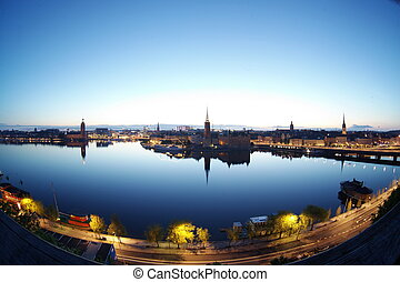 風景, 斯德哥爾摩, 晚上, 瑞典, 全景