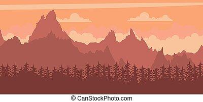 風景, 日没, 背景, 山