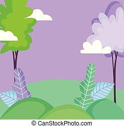 風景, 木, 群葉, 自然, 空