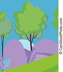 風景, 木, 群葉, 自然, 葉, 空, 丘