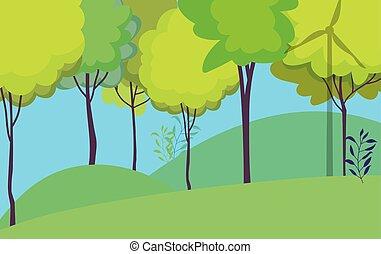 風景, 木, 自然, 森林, 空フィールド