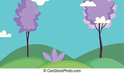 風景, 木, 自然, 芝生フィールド, 空, 雲
