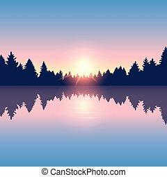 風景, 松, 湖, 美しい, 森林, 自然