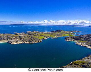 風景, 海, 美しい, 北極である, 夏, barents, 海岸線