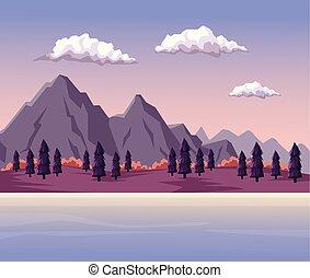 風景, 湖, 夜明け, 谷, 背景, カラフルである, 山