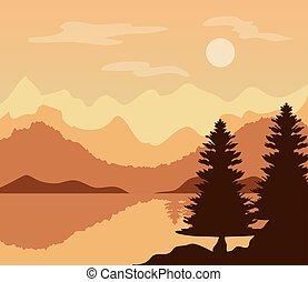 風景, 湖, 木, 松, 瞬間, 日没