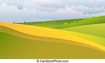 風景, 無窮, 綠色, 領域