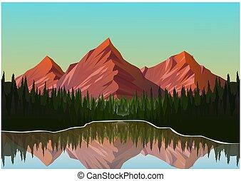 風景, 現實, 山, 插圖