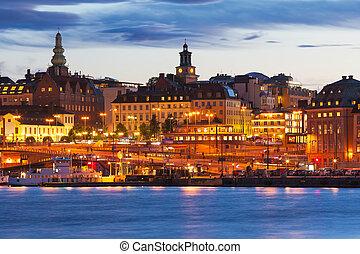 風景, 瑞典, 晚上,  stockhom