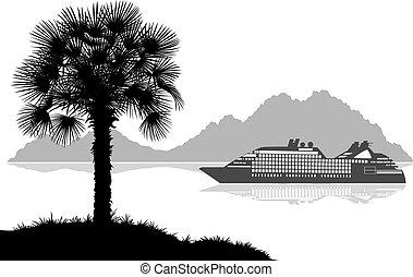 風景, 由于, 船, 棕櫚和山