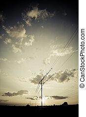 風景, 由于, 高壓, 電線
